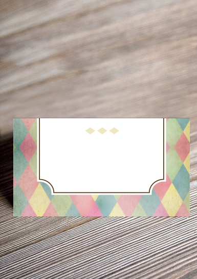 colored diamonds seating card mockup back